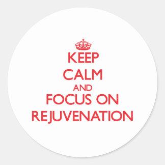 Guarde la calma y el foco en el rejuvenecimiento pegatinas redondas