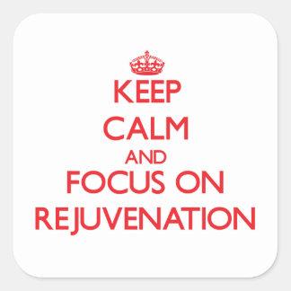 Guarde la calma y el foco en el rejuvenecimiento calcomania cuadradas personalizadas