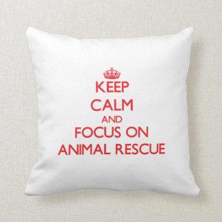 Guarde la calma y el foco en el rescate animal almohada