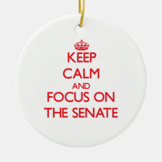 Guarde la calma y el foco en el senado ornamento de navidad