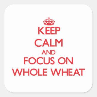 Guarde la calma y el foco en el trigo integral pegatina cuadrada
