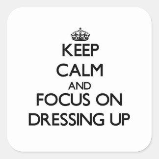 Guarde la calma y el foco en el vestido para colcomanias cuadradas personalizadas