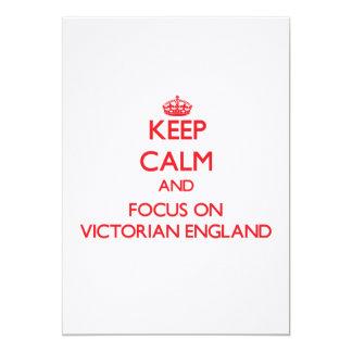 """Guarde la calma y el foco en el Victorian Invitación 5"""" X 7"""""""