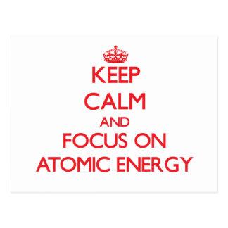 Guarde la calma y el foco en ENERGÍA ATÓMICA Postal