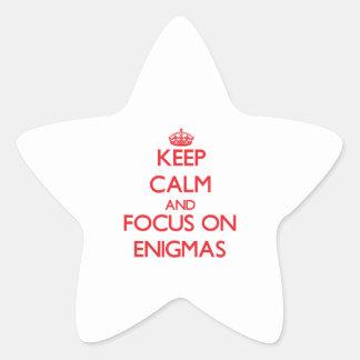 Guarde la calma y el foco en ENIGMAS Calcomanía Forma De Estrella Personalizada