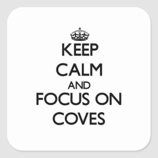Guarde la calma y el foco en ensenadas calcomanía cuadradas