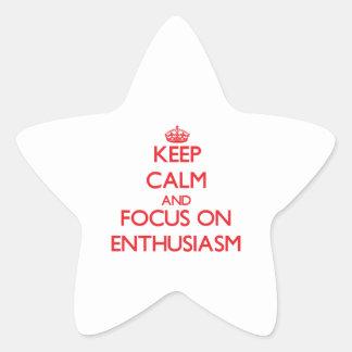 Guarde la calma y el foco en entusiasmo colcomanias forma de estrellaes