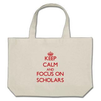 Guarde la calma y el foco en escolares bolsa lienzo