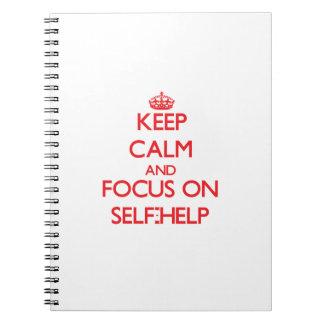 Guarde la calma y el foco en esfuerzo personal cuadernos