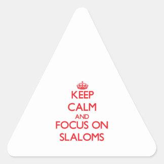 Guarde la calma y el foco en eslalomes pegatinas triangulo