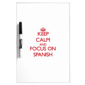 Guarde la calma y el foco en español