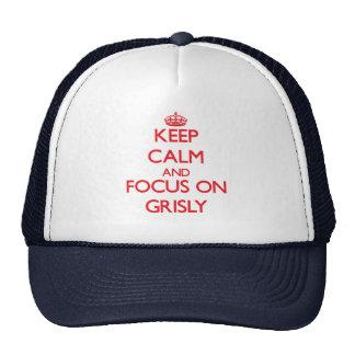 Guarde la calma y el foco en espantoso gorras