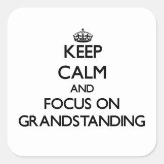 Guarde la calma y el foco en espectáculo colcomanias cuadradases