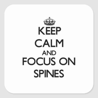 Guarde la calma y el foco en espinas dorsales colcomania cuadrada