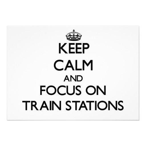 Guarde la calma y el foco en estaciones de tren invitación