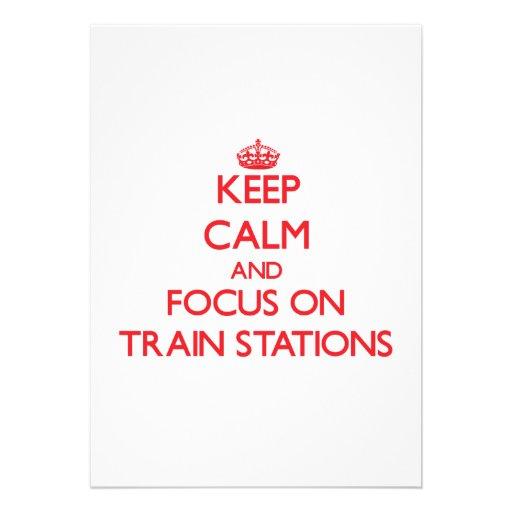 Guarde la calma y el foco en estaciones de tren invitacion personal