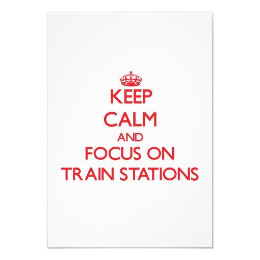 Guarde la calma y el foco en estaciones de tren invitación personalizada