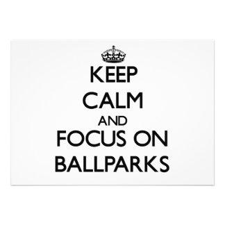 Guarde la calma y el foco en estadios de béisbol anuncio personalizado