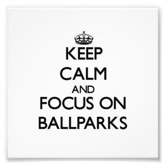 Guarde la calma y el foco en estadios de béisbol arte fotografico