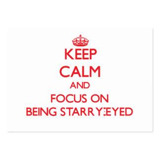 Guarde la calma y el foco en Estrellado-Ser Tarjetas De Visita Grandes