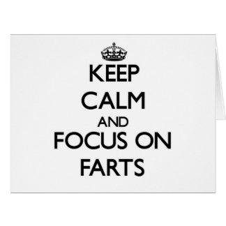 Guarde la calma y el foco en Farts Tarjeta De Felicitación Grande