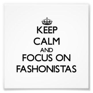 Guarde la calma y el foco en Fashonistas Cojinete