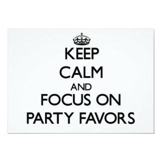 Guarde la calma y el foco en favores de fiesta comunicado personal