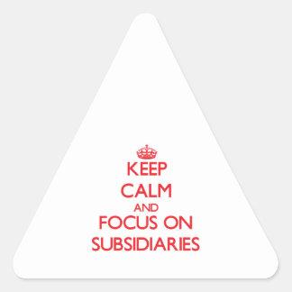 Guarde la calma y el foco en filiales pegatina trianguladas personalizadas
