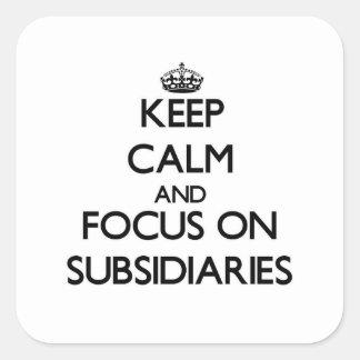 Guarde la calma y el foco en filiales colcomanias cuadradases