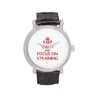 Guarde la calma y el foco en filtrar reloj de mano