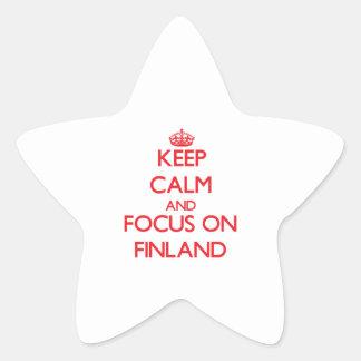 Guarde la calma y el foco en Finlandia Pegatinas Forma De Estrella Personalizadas