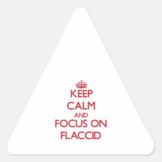 Guarde la calma y el foco en flácido calcomanías de triangulos
