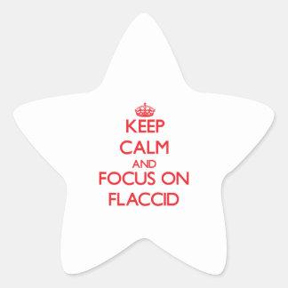 Guarde la calma y el foco en flácido pegatinas forma de estrella