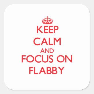 Guarde la calma y el foco en flácido calcomania cuadradas personalizada