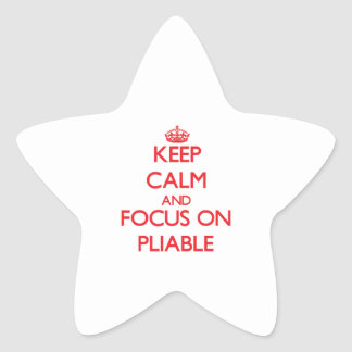 Guarde la calma y el foco en flexible pegatina en forma de estrella