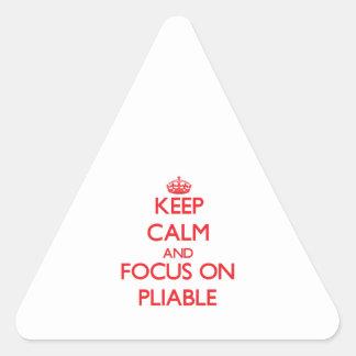 Guarde la calma y el foco en flexible pegatina triangular
