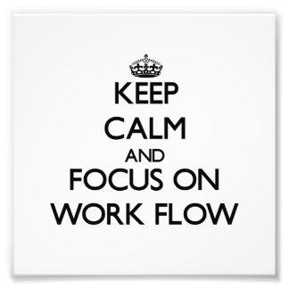 Guarde la calma y el foco en flujo de trabajo cojinete