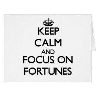 Guarde la calma y el foco en fortunas tarjetón