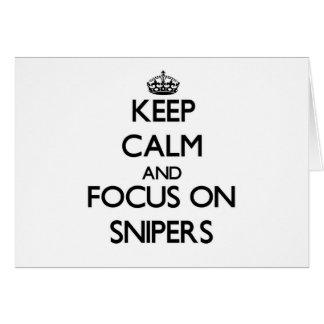 Guarde la calma y el foco en francotiradores tarjeta pequeña