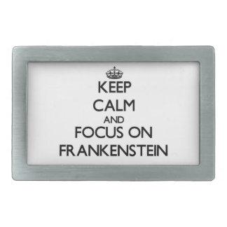 Guarde la calma y el foco en Frankenstein Hebilla Cinturón Rectangular