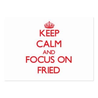 Guarde la calma y el foco en frito tarjeta de visita