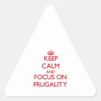 Guarde la calma y el foco en frugalidad calcomanías trianguladas