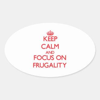 Guarde la calma y el foco en frugalidad calcomanía de óval personalizadas