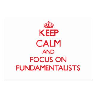 Guarde la calma y el foco en fundamentalistas tarjeta de visita
