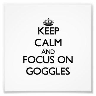 Guarde la calma y el foco en gafas arte con fotos