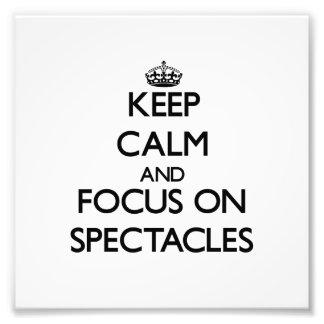 Guarde la calma y el foco en gafas arte fotográfico