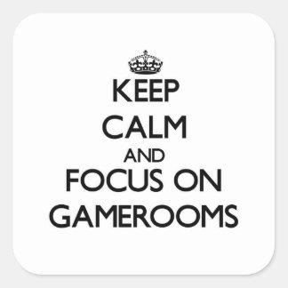 Guarde la calma y el foco en Gamerooms Pegatina Cuadrada