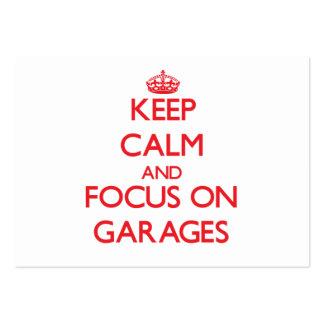 Guarde la calma y el foco en garajes tarjeta de visita