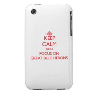 Guarde la calma y el foco en garzas de gran azul iPhone 3 Case-Mate protectores