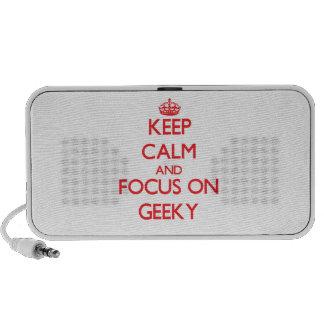 Guarde la calma y el foco en Geeky Laptop Altavoz